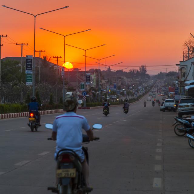 """""""Pakse main road in sunset, Laos"""" stock image"""