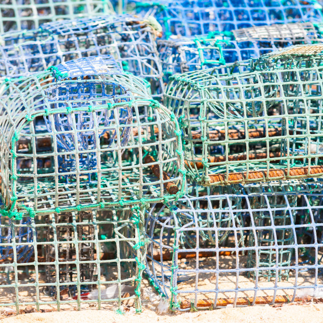 """""""Stacked lobster and crab traps in Algarve, Portugal"""" stock image"""