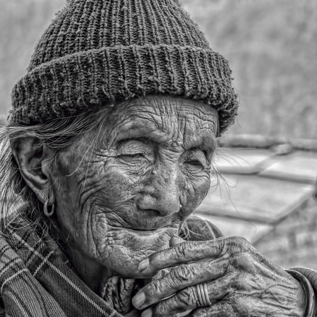 """OLD NEPALESE WOMAN"" stock image"