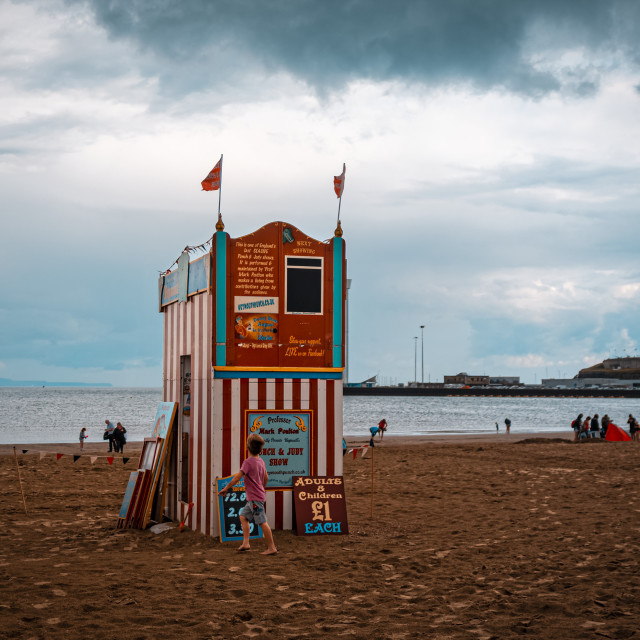 """Punch and Judy show on Beach"" stock image"
