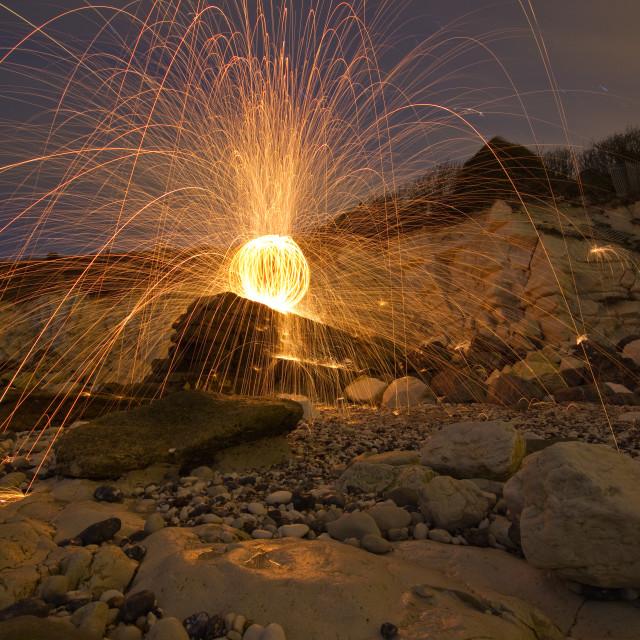 """Beach fire orb"" stock image"