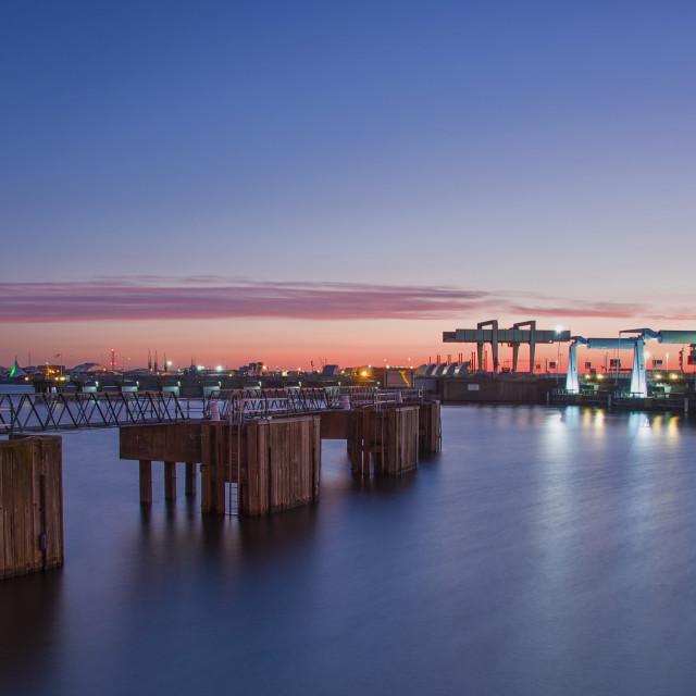 """Cardiff bay barrage @ dawn"" stock image"
