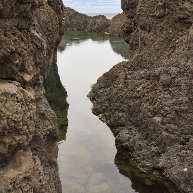 """""""Natural lava rock pool in Porto Moniz in Madeira"""" stock image"""