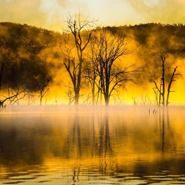 """Fiery Sunrise Mist"" stock image"