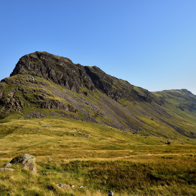 """The route from Dore Head to Yewbarrow ridge"" stock image"