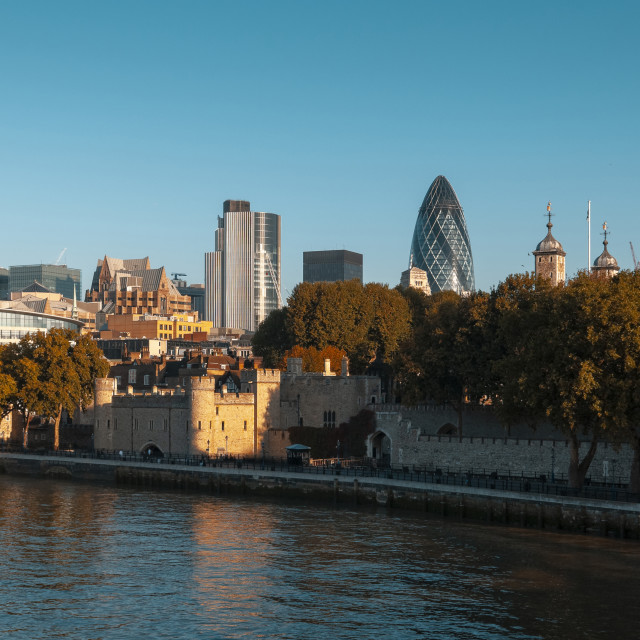 """The Tower of London and London City Skyline"" stock image"