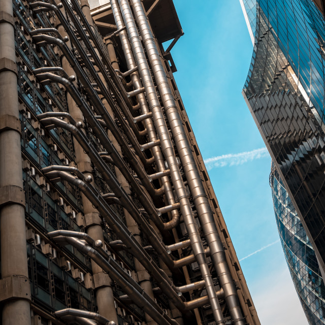 """The Lloyd's Building in London's financial district"" stock image"