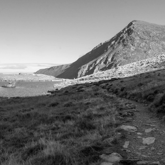 """""""Pen yr Ole Wen and Llyn Idwal"""" stock image"""