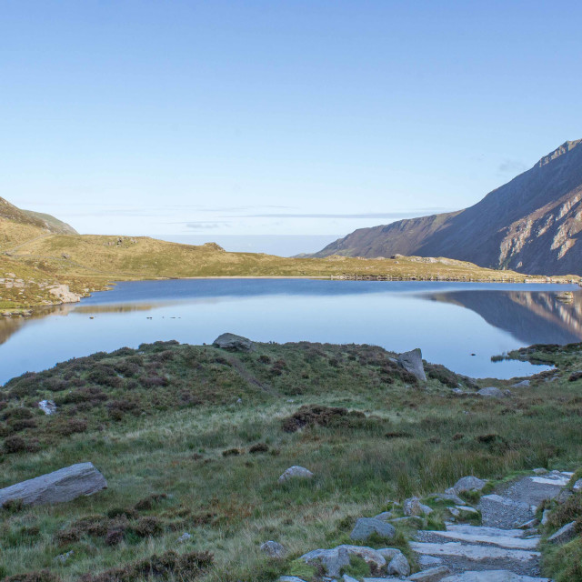 """Pen yr Ole Wen and Llyn Idwal"" stock image"