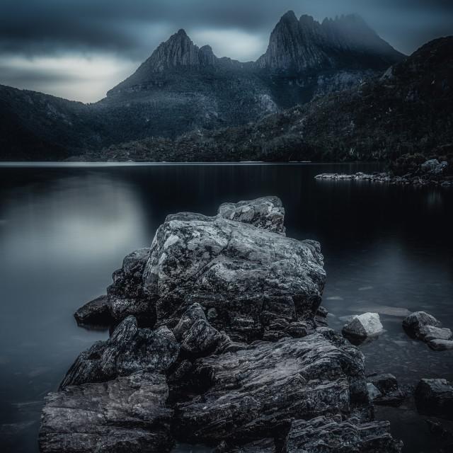 """""""Moody Cradle Mountain, Tasmania, Australia"""" stock image"""