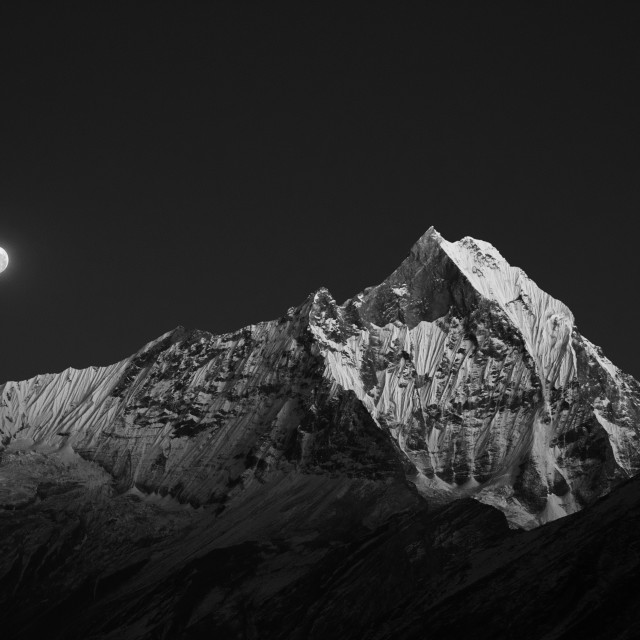 """Machapuchare Moonlight"" stock image"