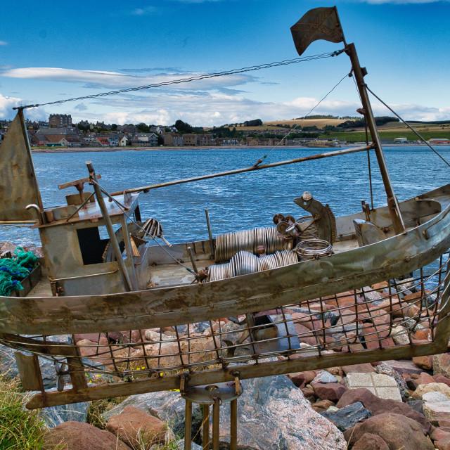 """Fishing vessel sculpture"" stock image"