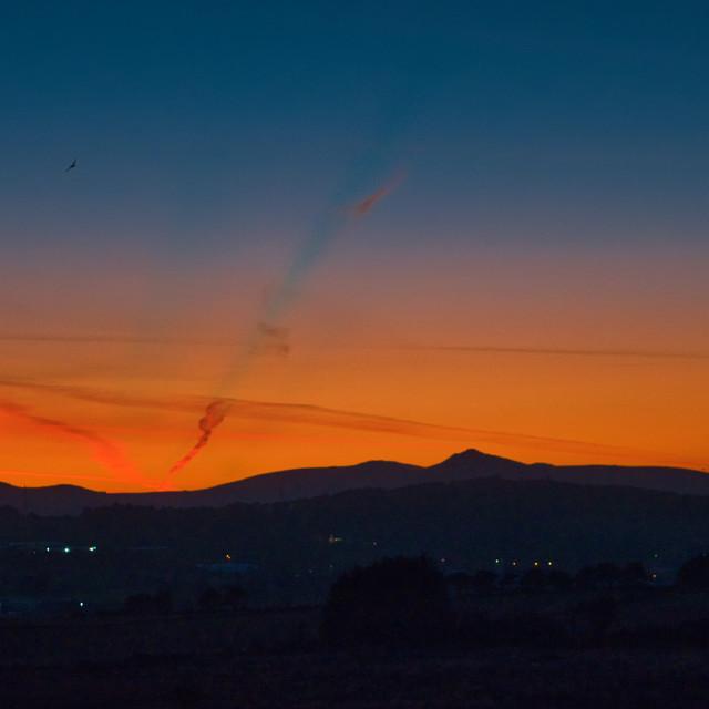 """Bennachie sunset"" stock image"