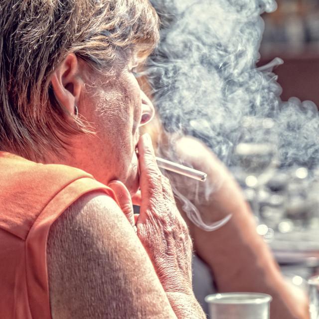 """""""Smoking woman"""" stock image"""