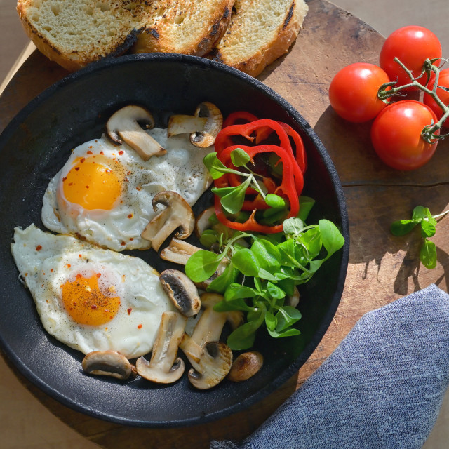 """Fried Eggs In A Frying Pan"" stock image"