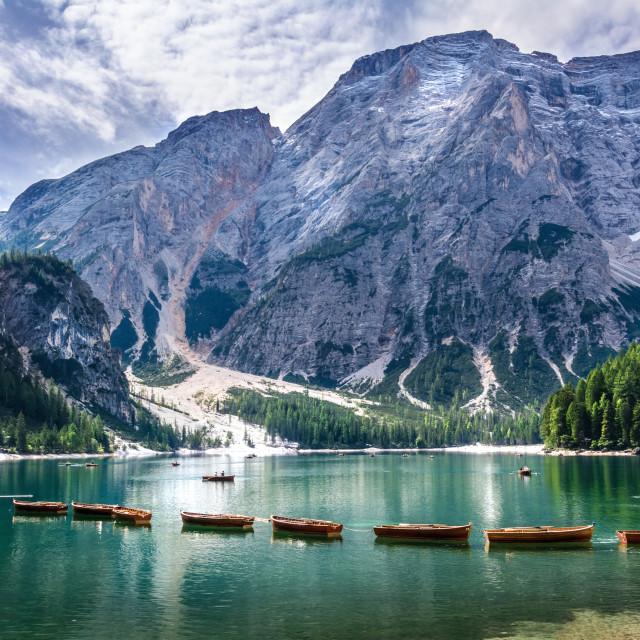 """""""lake pragser wildsee in south tirol italy"""" stock image"""