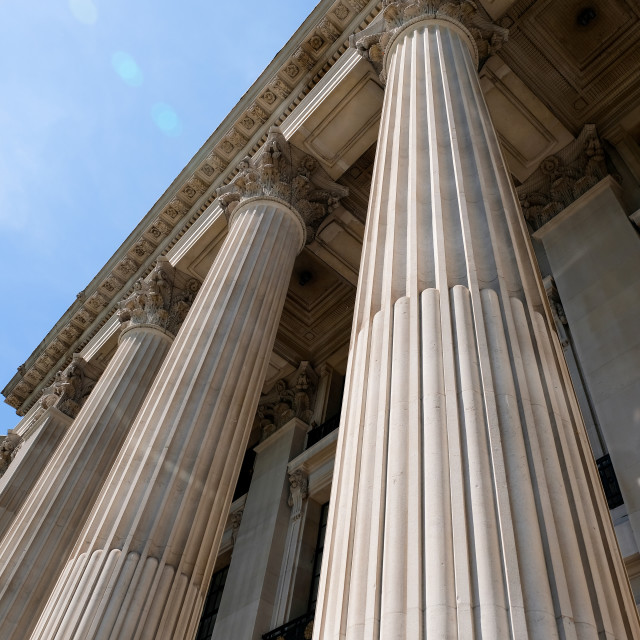 """""""seen from below front entrance of columns to old building"""" stock image"""