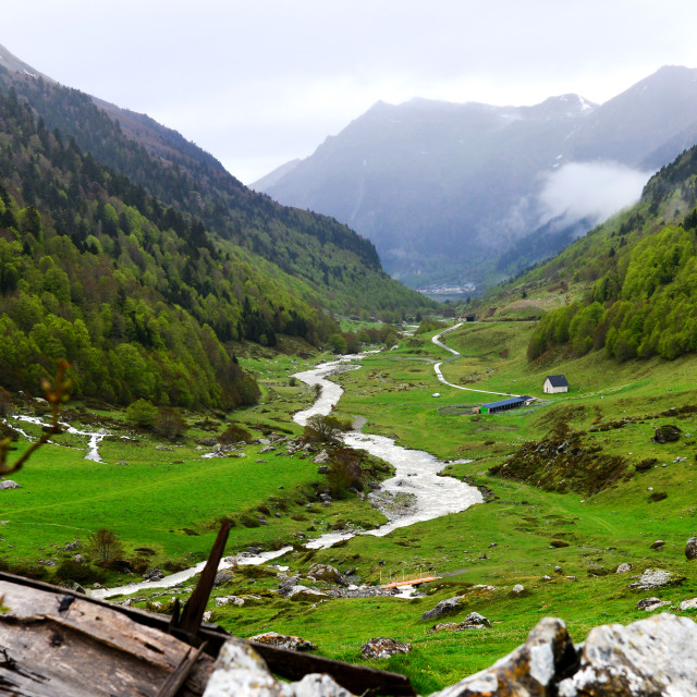 """""""Pyrenean stream in valley"""" stock image"""