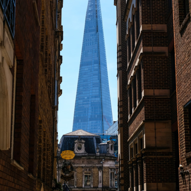 """""""An exterior of The Shard seen from an alleyway in the CIty of London"""" stock image"""