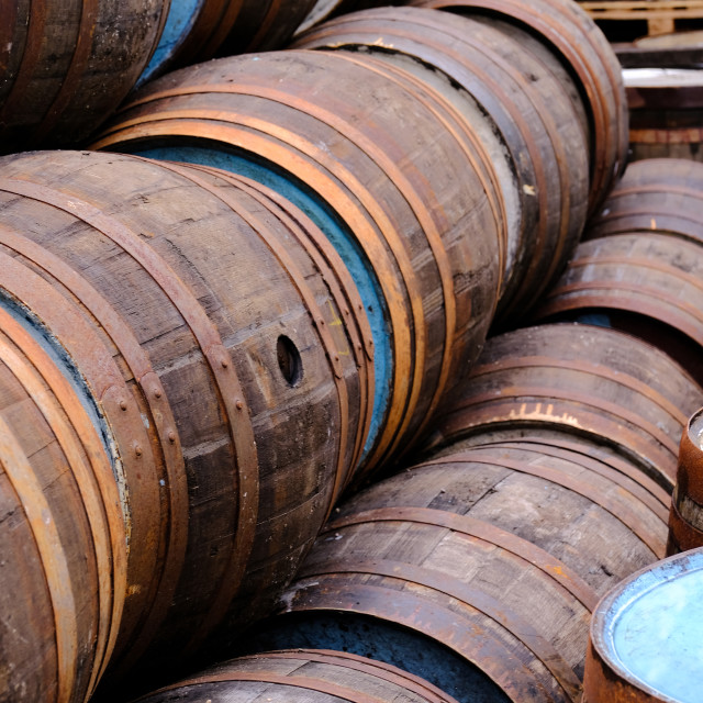 """""""A selection of wooden barrels used in ethe brewing and distillery industry"""" stock image"""