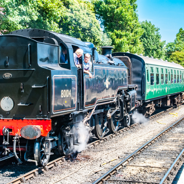 """Swanage, England 3rd July 2011 Swanage Rail – Steam Engine Black train with..."" stock image"