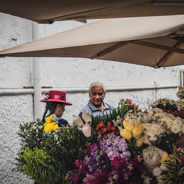 """Flower Market in Cuenca, Ecuador"" stock image"