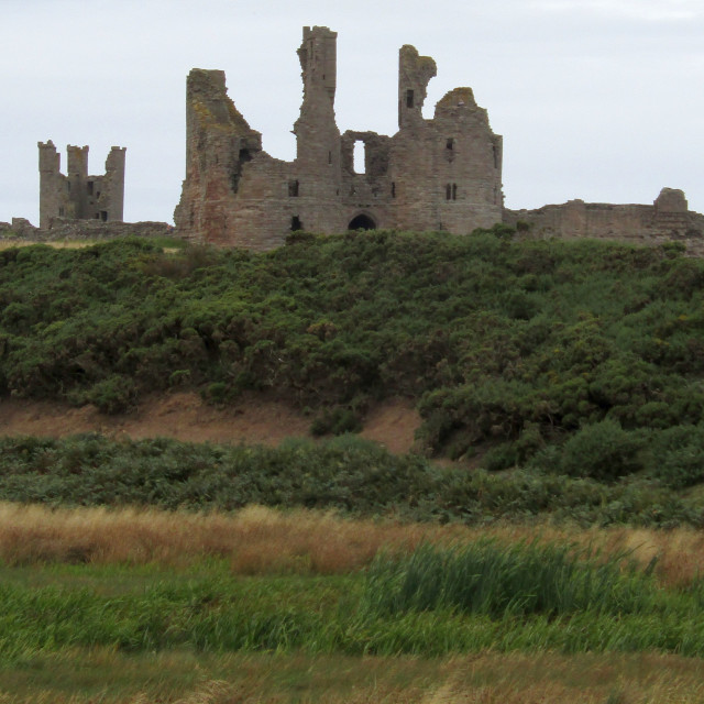 """Dunstanburgh Castle from afar"" stock image"