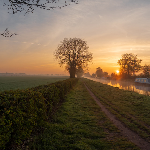 """Canal at sunrise"" stock image"