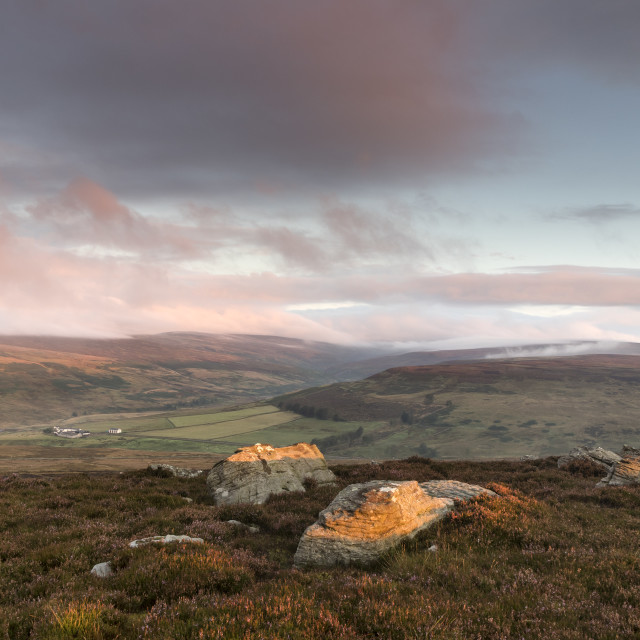 """Middle End and Middleton Common from Eggleston Common, Teesdale"" stock image"