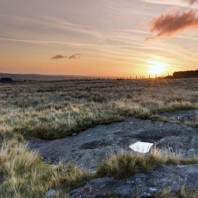 """Sunrise on East Hare Crag, Teesdale"" stock image"