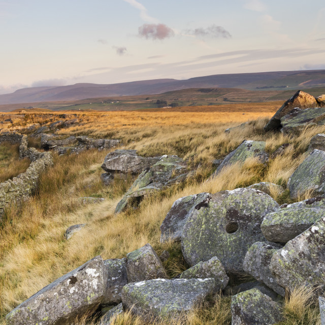 """East Hare Crag and View towards Mickle Fell, Teesdale"" stock image"