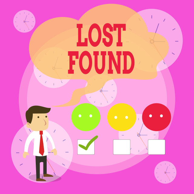 """Writing note showing Lost Found. Business photo showcasing Things that are..."" stock image"