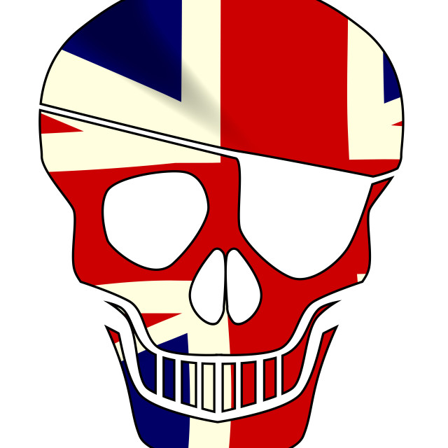 """""""Union Jack Skull Silhouette With Eye Patch"""" stock image"""
