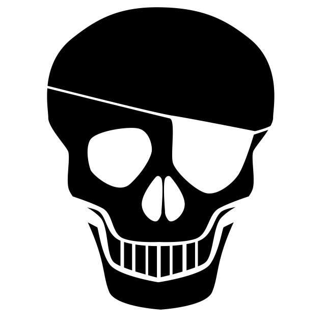 """""""Black Skull Silhouette With Eye Patch"""" stock image"""