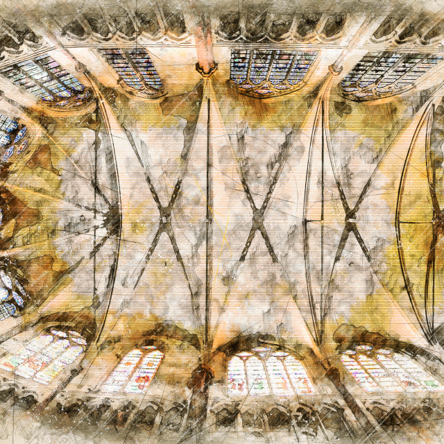"""""""Digital artistic Sketch of a Cathedral"""" stock image"""