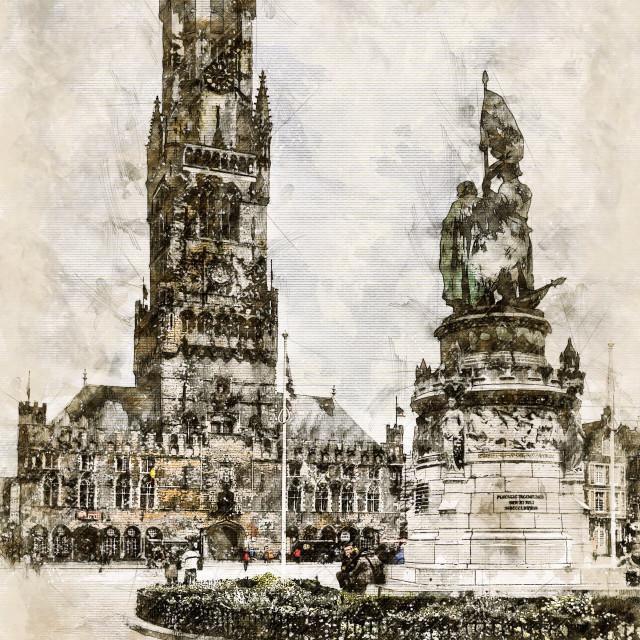 """""""Digital artistic Sketch of a Scene in Bruges"""" stock image"""