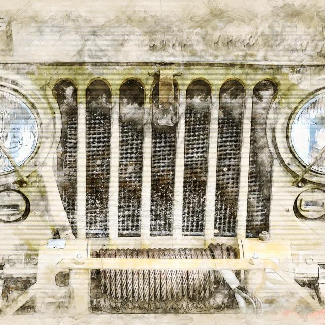 """Digital artistic Sketch of a classic Car"" stock image"