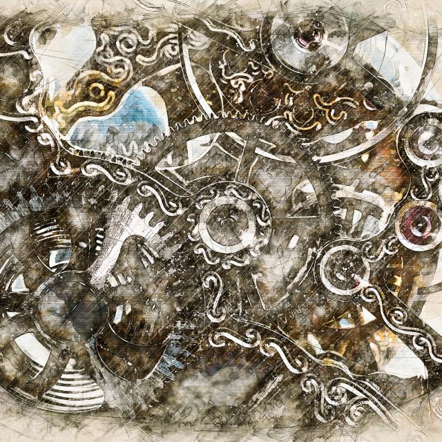 """Digital artistic Sketch of a Clockwork"" stock image"
