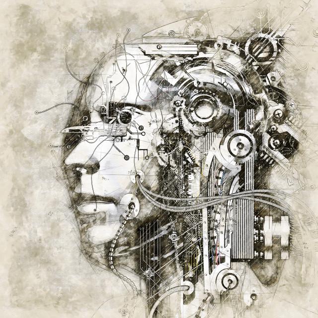 """Digital artistic Sketch of a Cyborg"" stock image"
