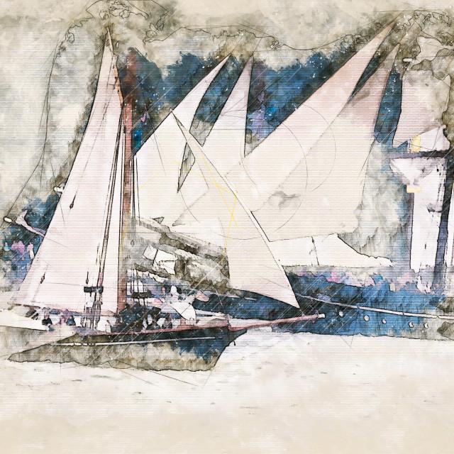 """Digital artistic Sketch of Sailing Ships"" stock image"