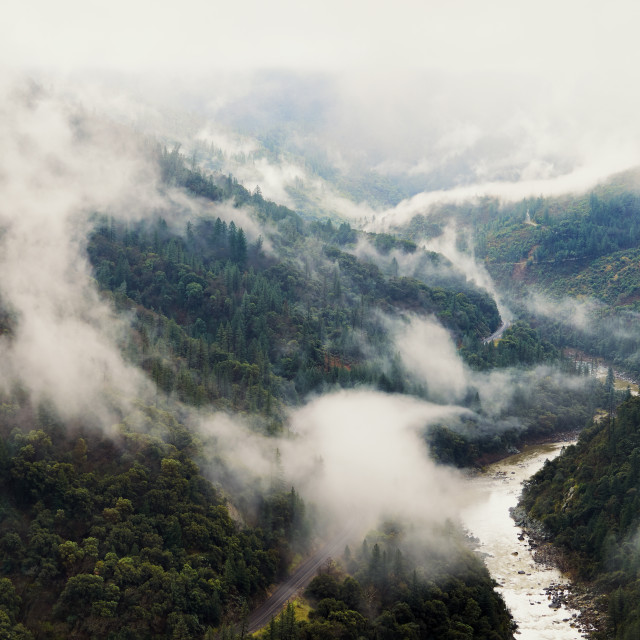 """Amazing Landscape of Clouds and Fog Above The Feather River Canyon"" stock image"