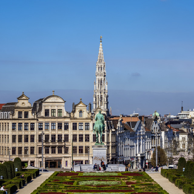 """View over Mont des Arts Public Garden towards Town Hall Spire, Brussels, Belgium"" stock image"