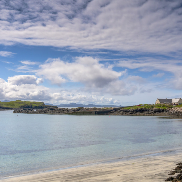 """Galmisdale Bay in mid-summer, Isle of Eigg, Small Isles, Scotland,"" stock image"