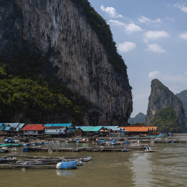"""""""A view of Koh Panyee, one of the region's typical Muslim villages."""" stock image"""