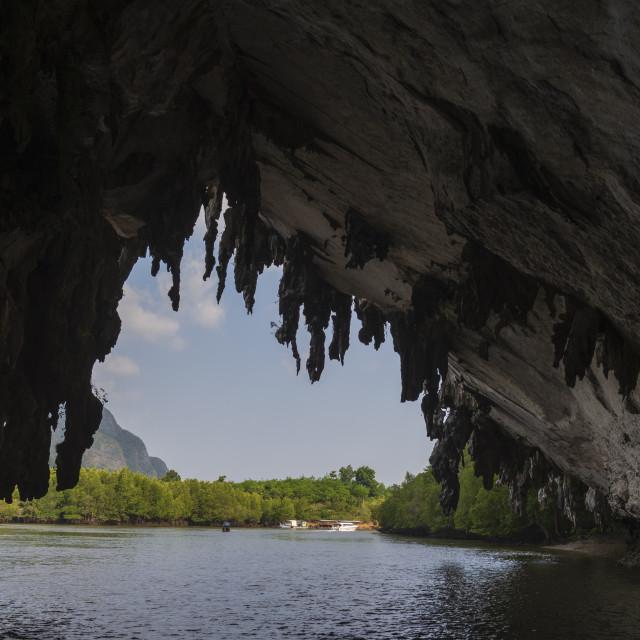 """A cave in Phang Nga bay."" stock image"