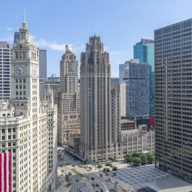 """""""View of Wrigley Building from rooftop terrace, Downtown Chicago, Illinois,..."""" stock image"""
