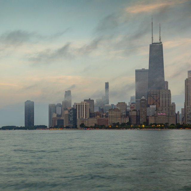 """""""View of Chicago skyline from North Beach at dusk, Downtown Chicago, Illinois,..."""" stock image"""