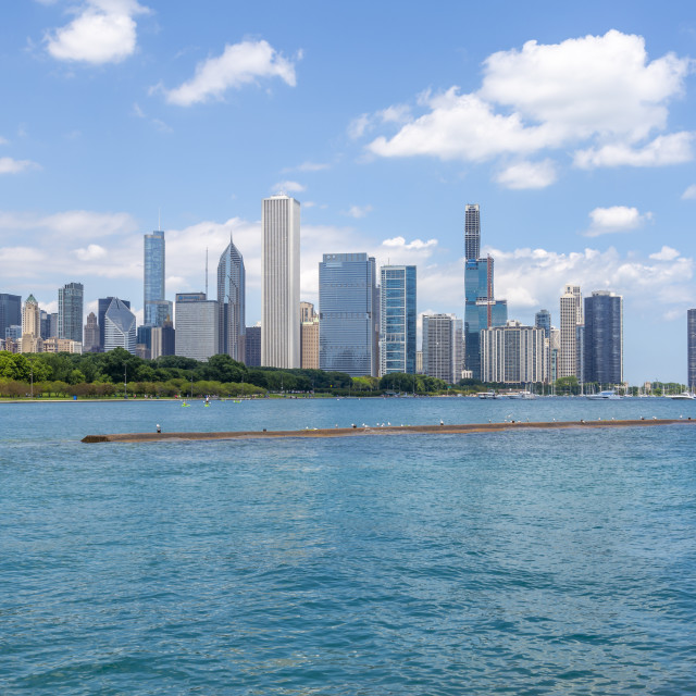 """""""View of Chicago skyline from Lake Michigan taxi boat, Chicago, Illinois,..."""" stock image"""