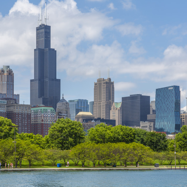 """""""View of Chicago skyline and Willis Tower from Lake Michigan taxi boat,..."""" stock image"""