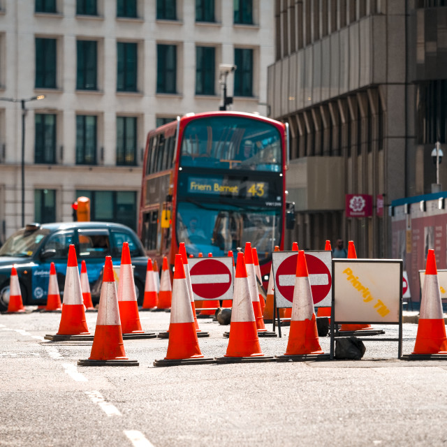 """Road works on London street"" stock image"